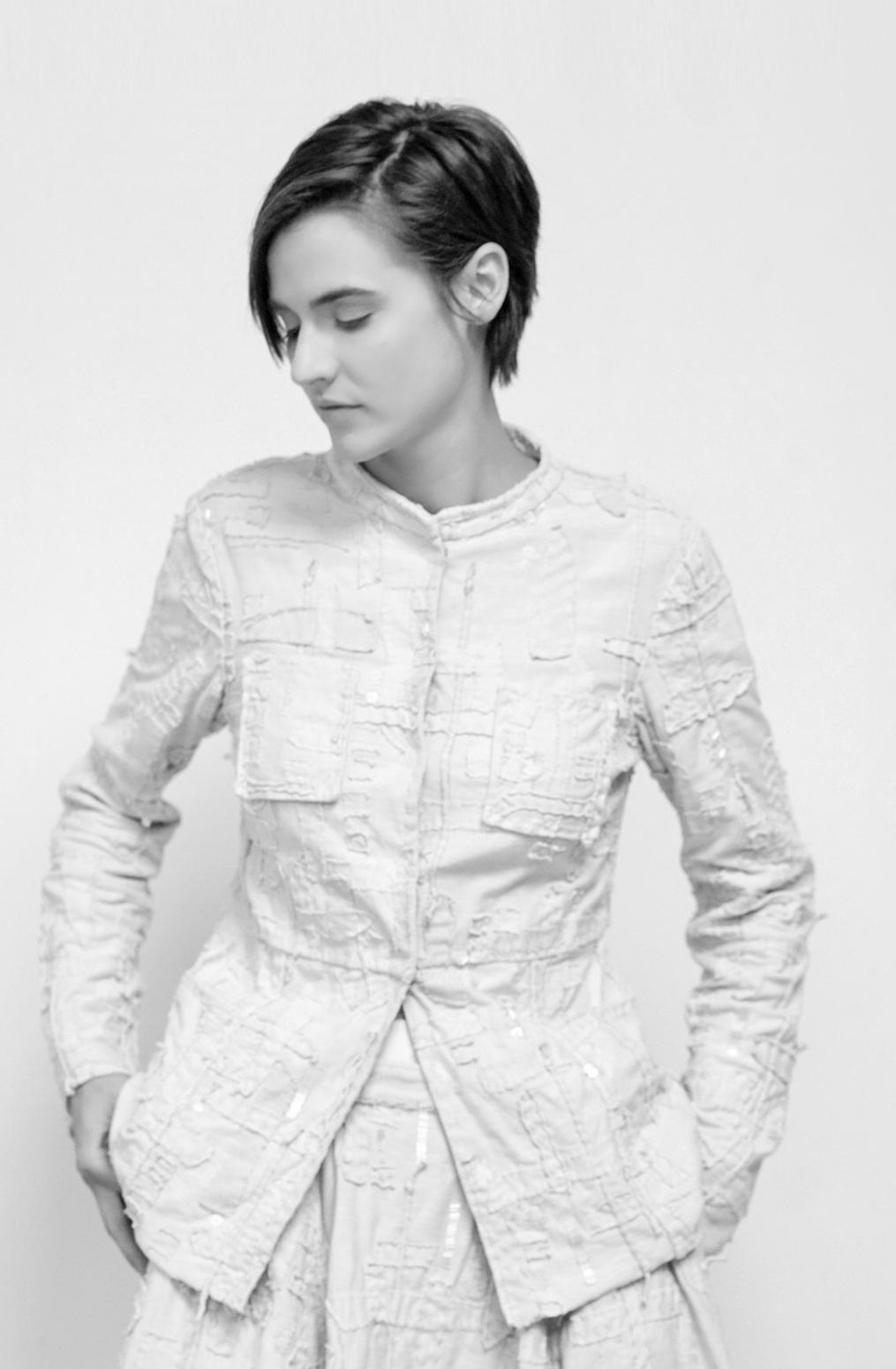 Alabama chanin  organic cotton  womens jacket  tweed  applique