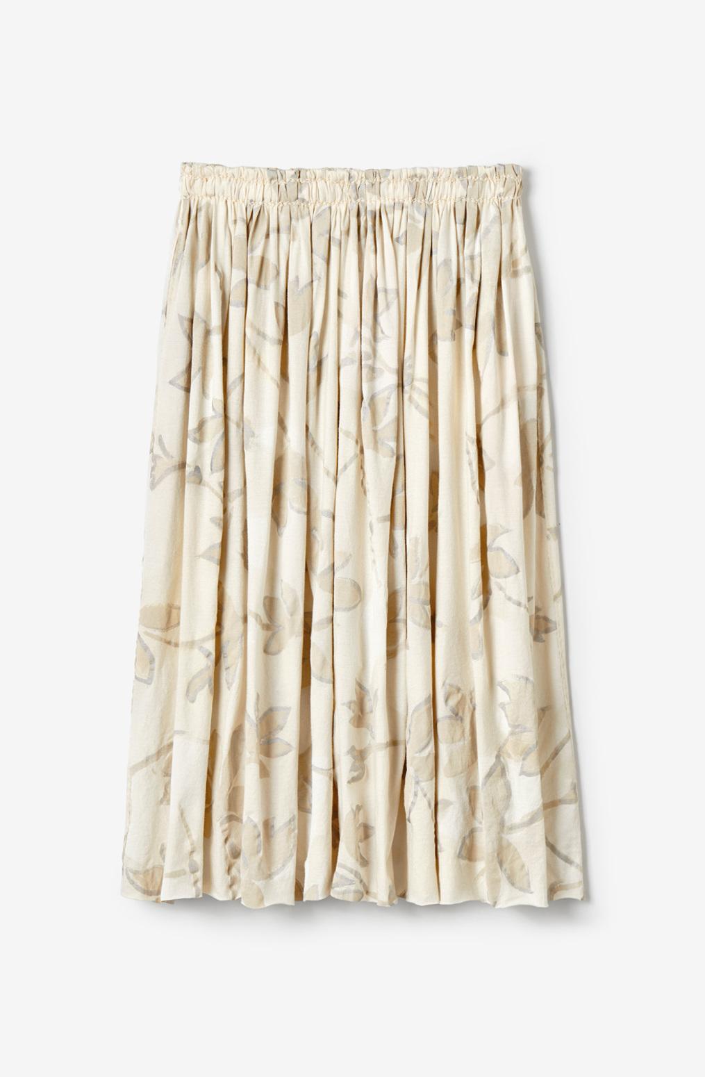 Alabama chanin  organic cotton  lightweight  pleated skirt  hand painted floral pattern
