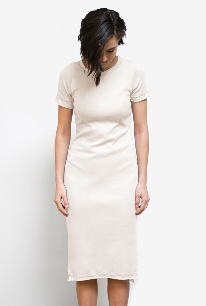 Alabama chanin  organic cotton  womens everyday layering dress  comfortable  lightweight  rib