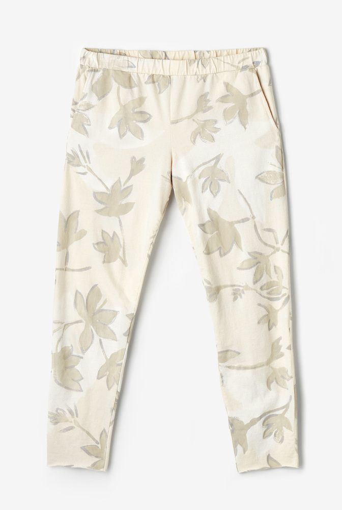 Alabama chanin  organic cotton  womens jogger pant  crop  leisurewear  hand painted floral pattern