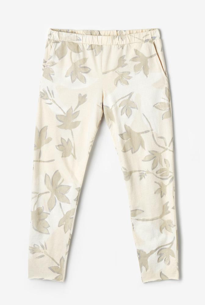 Alabama chanin  organic cotton  womens jogger pant  crop  leisurewear  hand painted floral pattern
