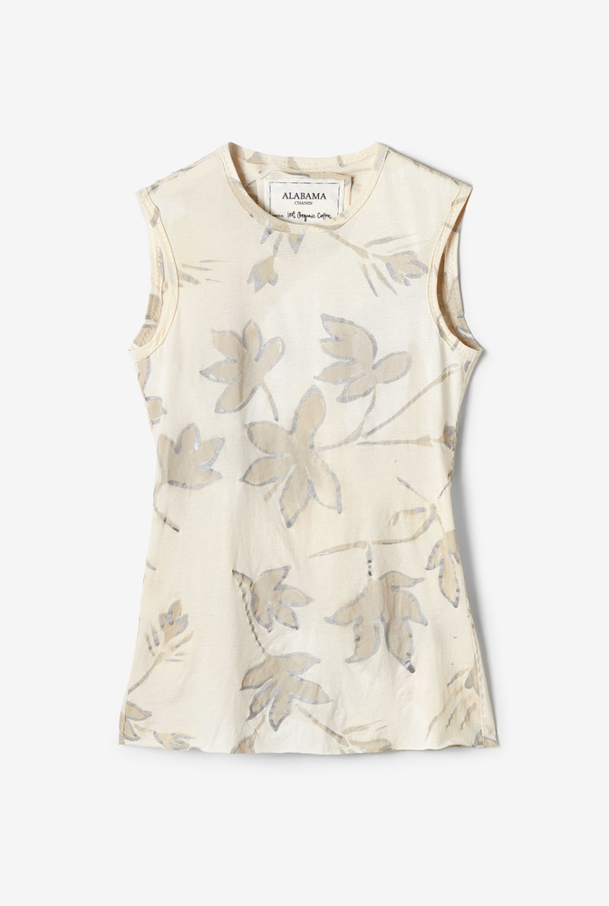 Alabama chanin  organic cotton  womens everyday top  hand painted floral pattern