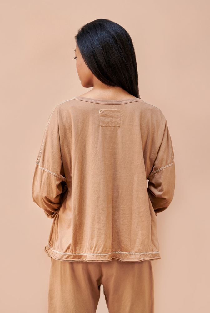 Alabama chanin  lwj  coverup  camel  womens top  long sleeve