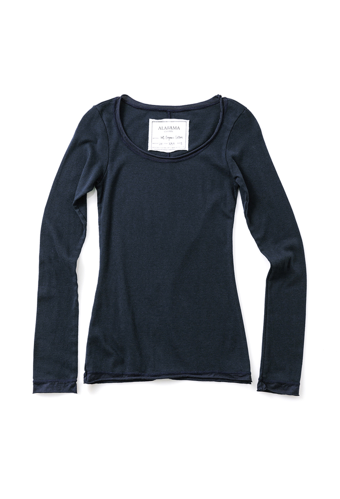 Alabama chanin scoop neck womens top navy