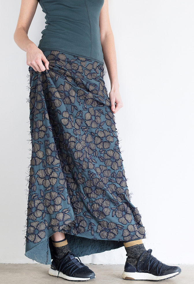 Alabama chanin floral long skirt 1