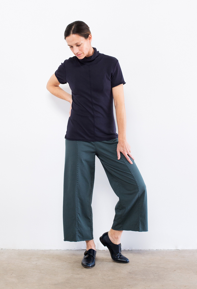 Alabama chanin wide leg organic cotton pant 2