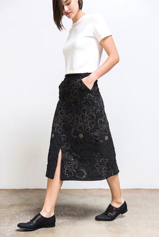 Alabama chanin organic cotton floral skirt 2