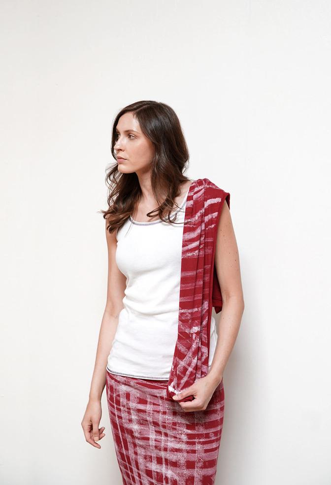 Alabama chanin stenciled slim tie scarf 2
