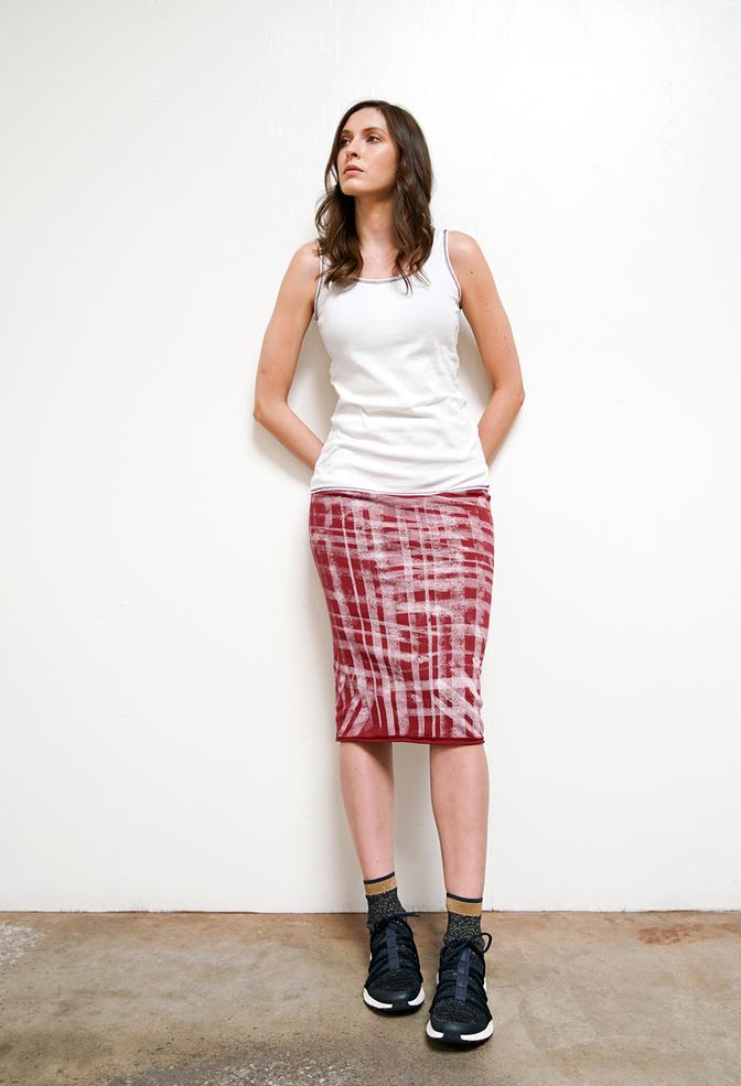 Alabama chanin graffiti stenciled rib pencil skirt 2