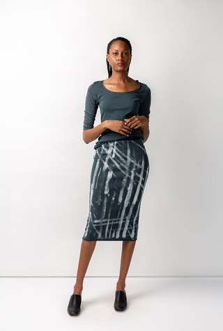 Alabama chanin graffiti stenciled rib pencil skirt 4