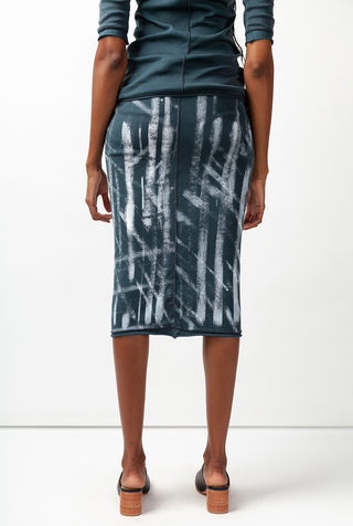 Alabama chanin graffiti stenciled rib pencil skirt 3