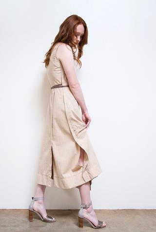 Alabama chanin double breasted pockets organic chambray dress 2