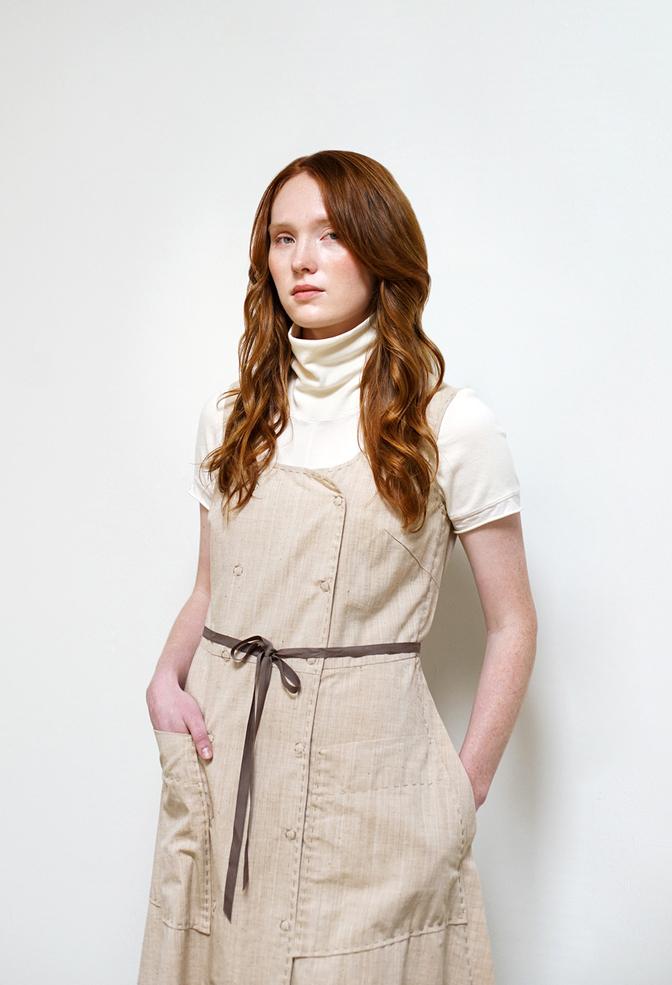 Alabama chanin double breasted pockets organic chambray dress 3