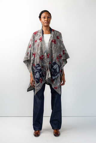 Alabama chanin swans island embroidered woven cape 1