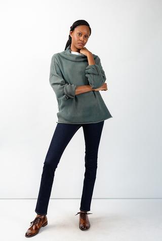 Alabama chanin indigo waffle knit sweatshirt 1