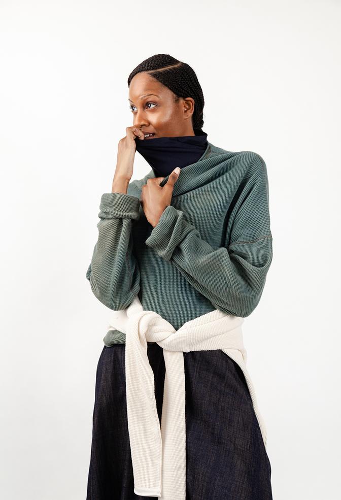 Alabama chanin indigo waffle knit sweatshirt 4