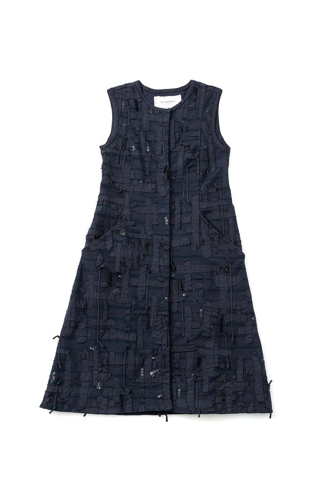 Alabama chanin embroidered womens tweed dress 4