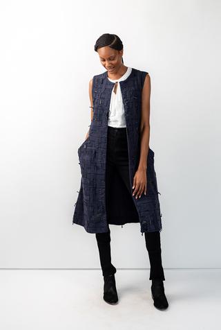 Alabama chanin embroidered womens tweed dress 2