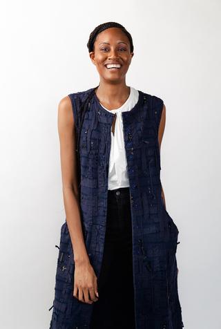 Alabama chanin embroidered womens tweed dress 1