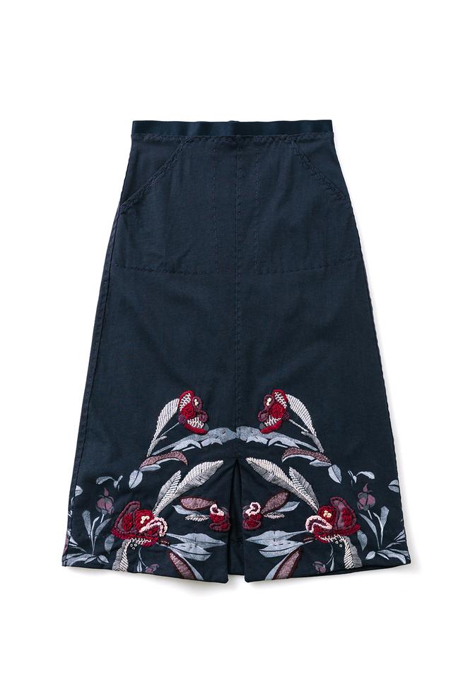 Alabama chanin stenciled floral skirt 3