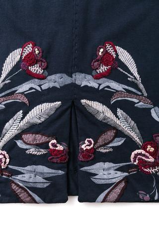 Alabama chanin stenciled floral skirt 4