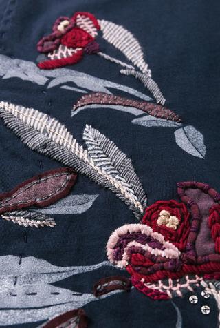 Alabama chanin stenciled floral skirt 5
