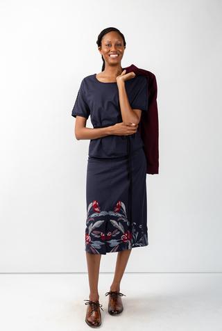 Alabama chanin stenciled floral skirt 1
