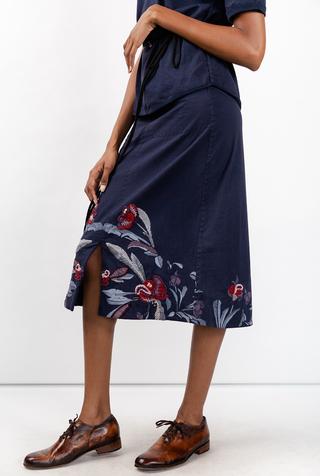 Alabama chanin stenciled floral skirt 2