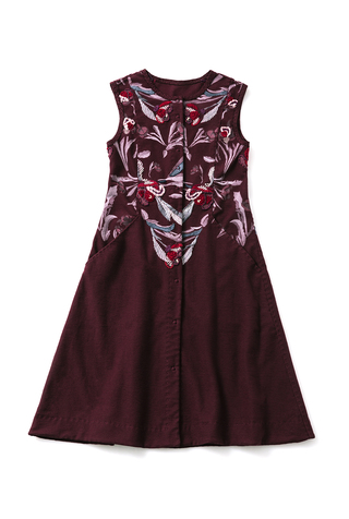 Alabama chanin single breasted floral embroidered dress 4