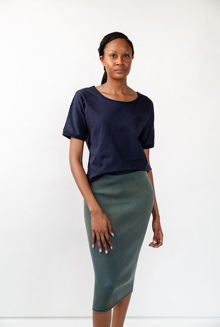 Alabama chanin indigo waffle straight skirt 1