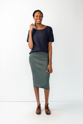 Alabama chanin indigo waffle straight skirt 2