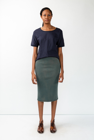 Alabama chanin indigo waffle straight skirt 3