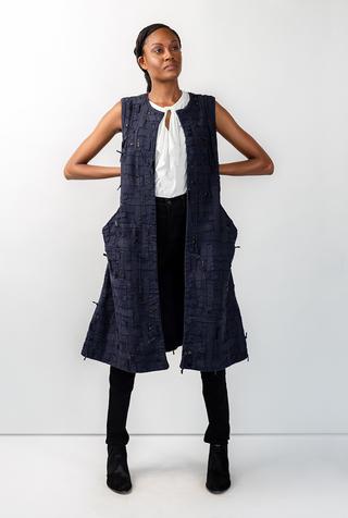 Alabama chanin embroidered womens tweed dress 3