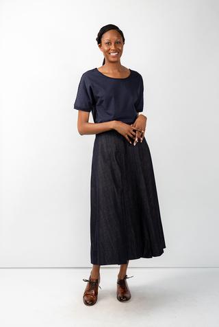 Alabama chanin chambray organic handsewn leighton long skirt 10