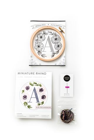 Miniature Rhino Monogram Embroidery Kit