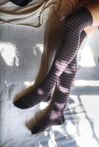 Alabama chanin organic cotton stripe tall socks 2