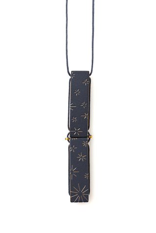 Double Bar Eyelet Necklace in Indigo