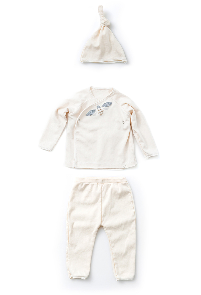 Alabama chanin organic cotton baby wrap top set 5