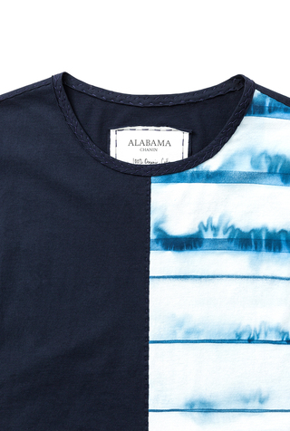 Alabama chanin split front striped tee 2