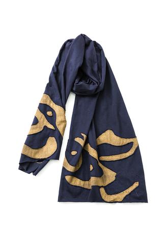 Alabama chanin appliqued cotton wrap scarf 1