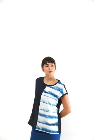 Alabama chanin split front striped tee 3