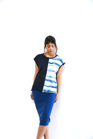 Alabama chanin split front striped tee 4