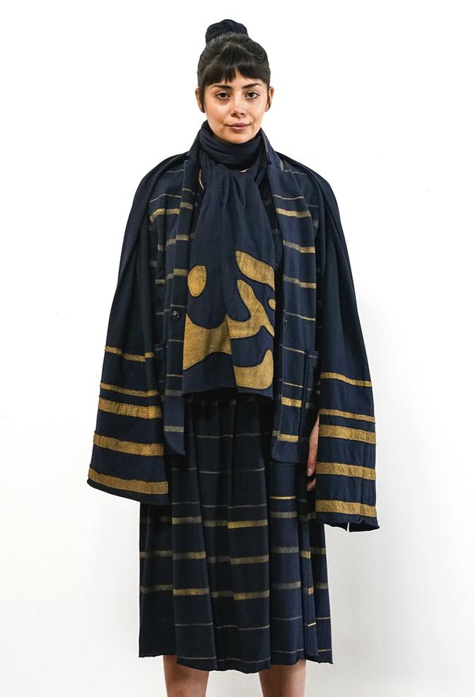 Alabama chanin appliqued cotton wrap scarf 4