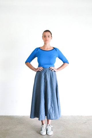 Alabama chanin chambray organic handsewn leighton long skirt 3