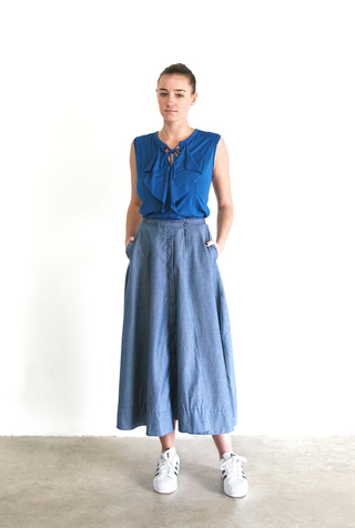 Alabama chanin chambray organic handsewn leighton long skirt 4