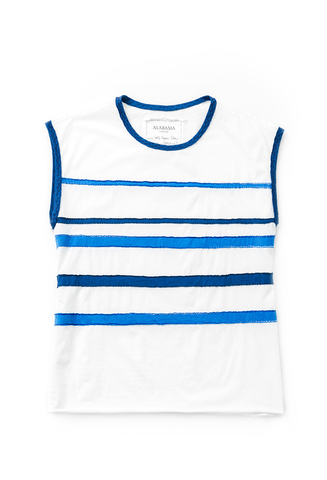 Alabama chanin applique striped muscle tee 1