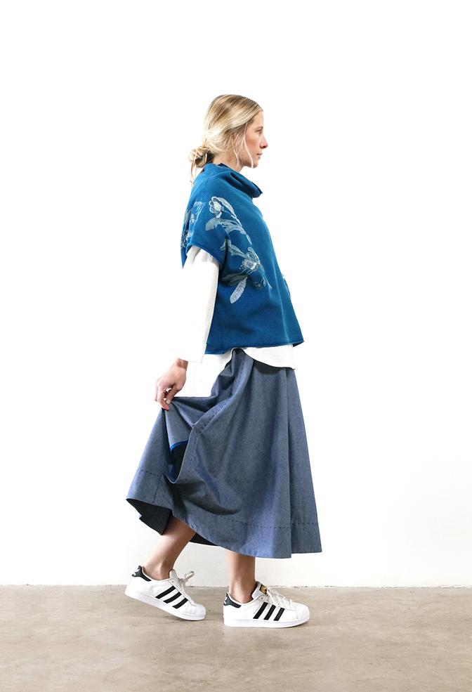 Alabama chanin chambray organic handsewn leighton long skirt 1