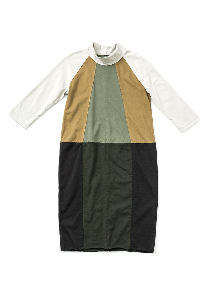 Fractal dress   colorblock   parchment ochre verdant forest black   28496   build a wardrobe 2019   abraham rowe 1