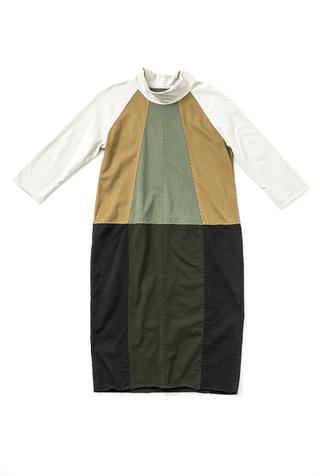 Fractal dress   colorblock   parchment ochre verdant forest black   28496   build a wardrobe 2019   abraham rowe 1