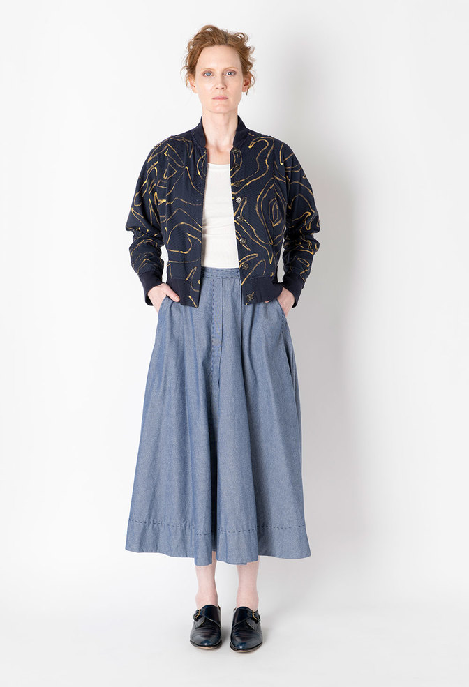 Alabama chanin chambray organic handsewn leighton long skirt 2